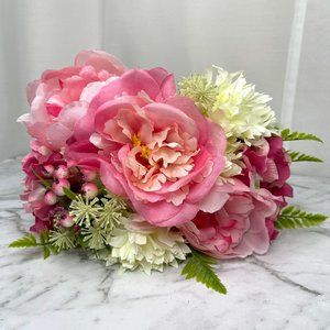 Fabric Flowers Bunch Posy Bright Pink Faux